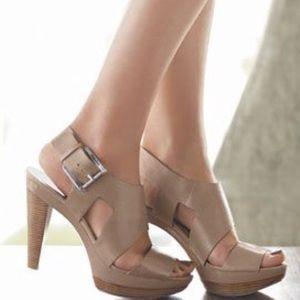 "Michael Kors Shoes - Michael Kors ""Carla"" Nude Sandal Heels Size 7.5"